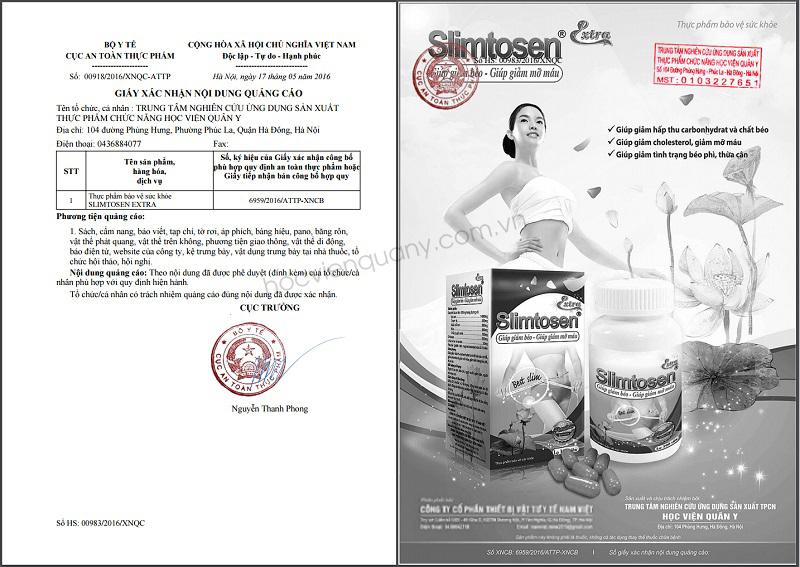 Xác nhận công bố quảng cáo Slimtosen Extra